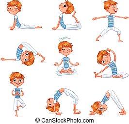 Boy engaged in physical exercises. Yoga kid