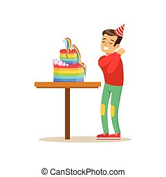 Boy Enjoying Rainbow Cake, Kids Birthday Party Scene With Cartoon Smiling Character