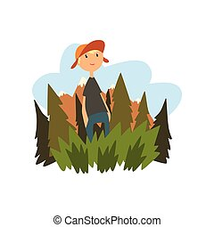 Boy enjoying summer vacation in countryside landscape vector Illustration on a white background