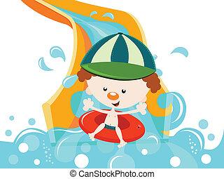 Boy Enjoying Water Slide - Cute boy having fun on water...