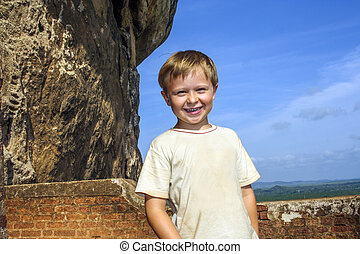 boy enjoys sightseeing in Sri Lanka