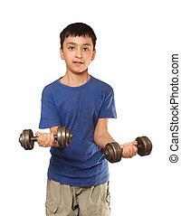 boy exercise with dumbbells