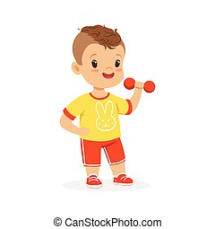 Boy exercising with dumbbell, kid doing sports colorful character vector Illustration