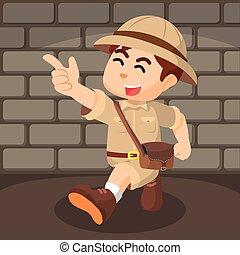 boy explorer pointing