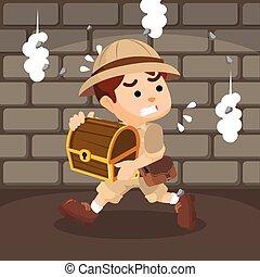 boy explorer run after taking the treasure
