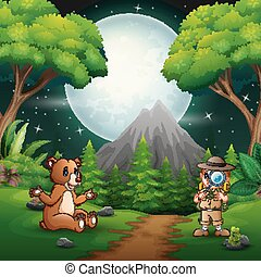 Boy explorer with a bear in the night scene