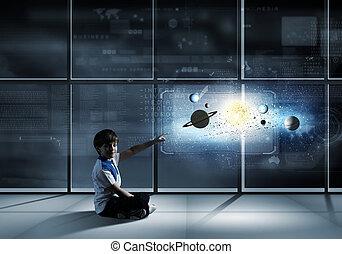 Boy exploring space