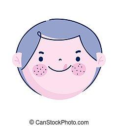 boy face cute cartoon character, children