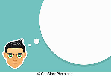 Boy face with think bubble