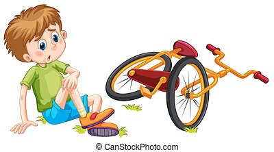 Boy fallen off the bicycle