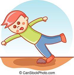 boy falling doodle cartoon