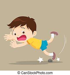 boy falling stumble tripping over stone