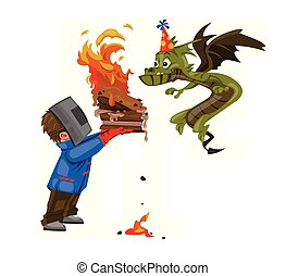Boy feeding a dragon with a cake for his birthday. Vector cartoon caracter funny illustrations