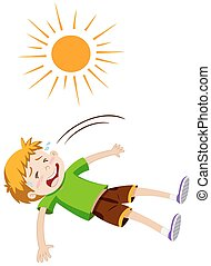 Boy feeling ill from heat stroke illustration