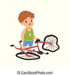 Boy feeling unhappy with his bike broken vector Illustration on a white background