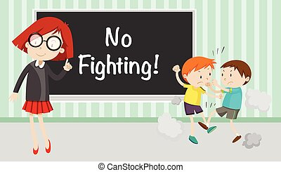 Boy fighting in front of no fighting sign