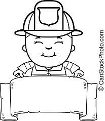 Boy Firefighter Banner - A cartoon illustration of a...