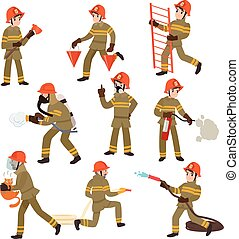 Boy Firefighter Wearing Protective Uniform and Helmet with Equipment Set, Freman Character Doing His Job Vector Illustration