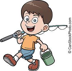 Boy fishing - Vector illustration of Boy fishing