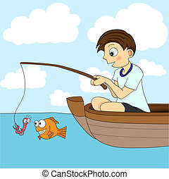 Boy Fishing In A Boat. The worm is about to be eaten by the fish