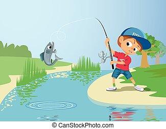 Boy fishing in a river