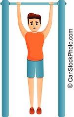 Boy fix bar icon, cartoon style - Boy fix bar icon. Cartoon ...
