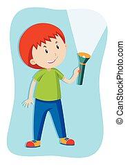 Boy flashing a flashlight illustration