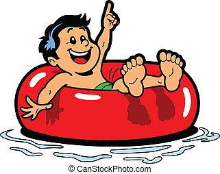 Boy Floating Inner Tube - Happy Boy Floating on an Inner ...
