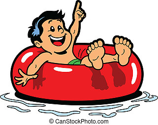 Boy Floating Inner Tube - Happy Boy Floating on an Inner...