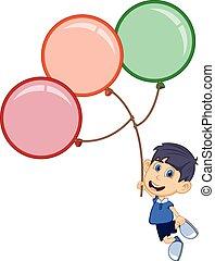 Boy fly with balloons cartoon
