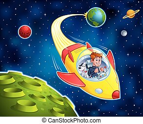 Boy Flying A Spacecraft With His Pet Dog