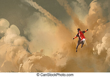 boy flying in the cloudy sky with jet pack rocket, ...