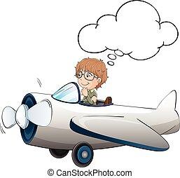 Boy flying jet plane in the sky