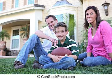 boy), (focus, familienhaus, glücklich