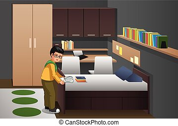 Boy Folding Clothes in His Bedroom Illustration