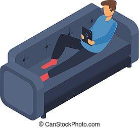 Boy freelancer at sofa icon, isometric style