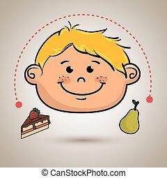 boy fruit cake dessert