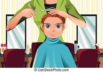 Boy getting a haircut - A vector illustration of a boy...