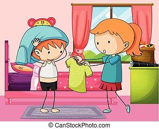 Boy getting dress in bedroom