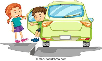Boy getting out of green car