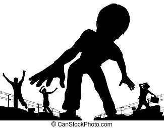 Boy giant - EPS8 editable vector silhouette of a giant boy...