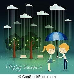 boy gift umbrella girl ,rainy season in park