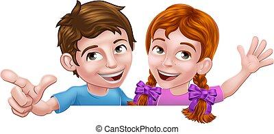 Boy Girl Kid Cartoon Children Peeking Over Sign
