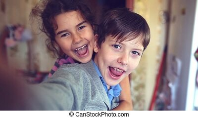 boy girl self hugging shout brother and sister happiness -...