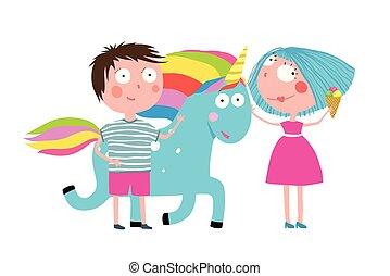 Boy Girl Unicorn and Ice Cream Cartoon