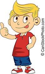 Boy give a thumb up cartoon