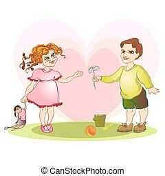 boy give girl flower
