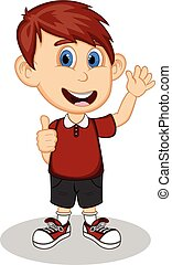 Boy give thumbs up cartoon