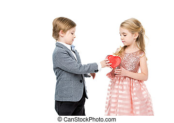Boy gives present to girl