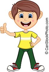Boy gives thumbs up cartoon